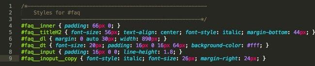 faqセクションのコードに適応されているCSSまとめ