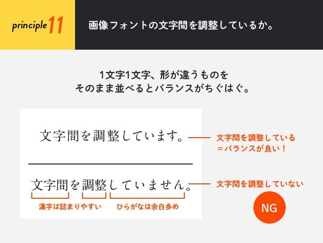 原則11(フォント編):画像フォントの文字間を調整しているか。