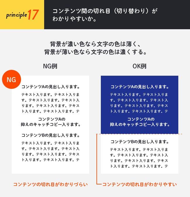 原則17(レイアウト編):コンテンツ間の切れ目(切り替わり)がわかりやすいか。