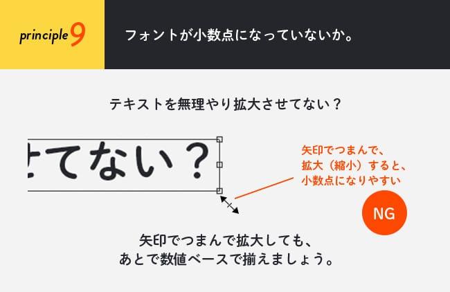 原則9(フォント編):フォントが小数点になっていないか。