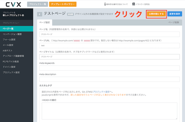 CVXページ設定画面、公開設定