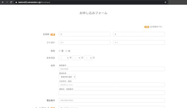 公開したページのフォーム入力画面