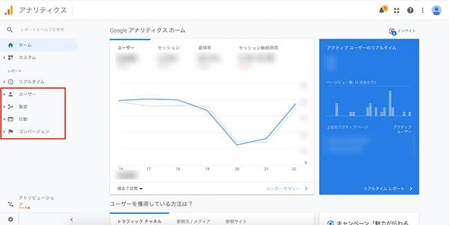 Googleアナリティクス管理画面「ユーザー」、「集客」、「行動」、「コンバージョン」