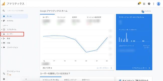 Googleアナリティクス管理画面「ユーザー」